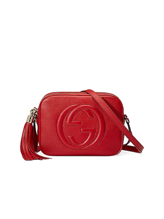 Small Leather Disco Bag in Vibrant Red