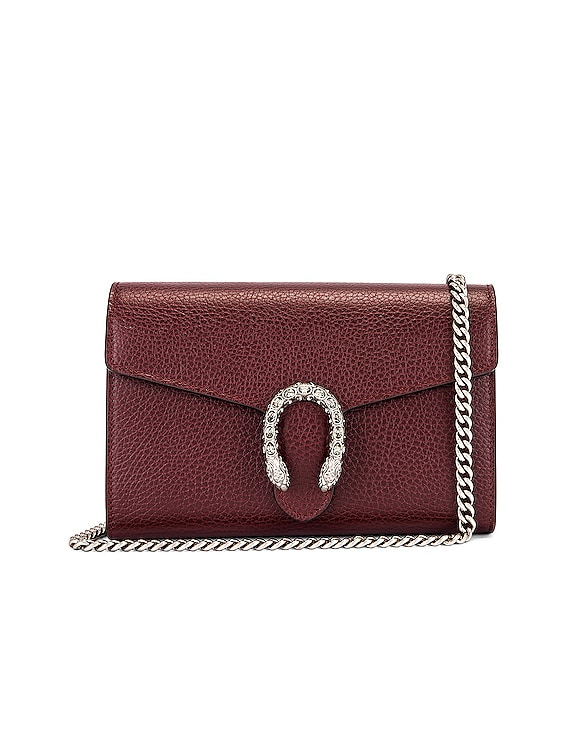 Leather Chain Shoulder Bag in Vintage Bordeaux & Black Diamond