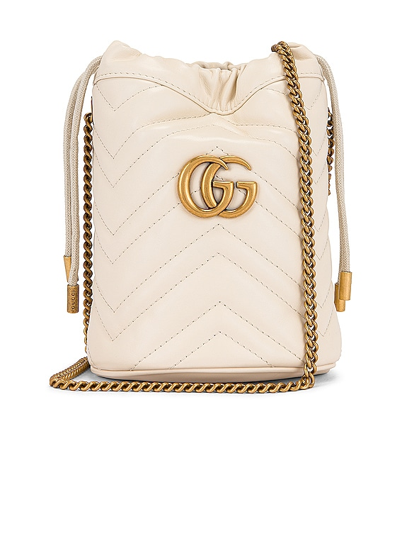 Leather Chain Bucket Bag in Mystic White