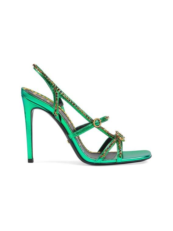 Metallic Strap Sandals in Jasmine Green