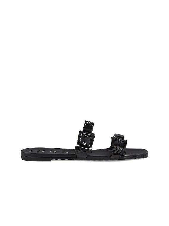 Teena Rubber Sandals in Nero