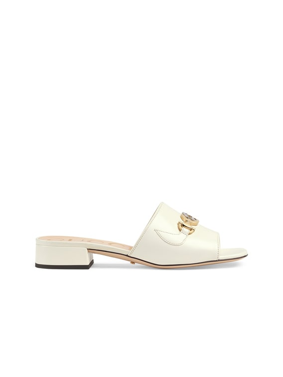 Leather Sandals in Dusty White