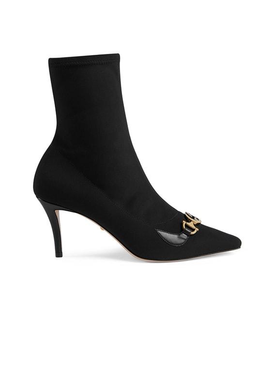 Mid Heel Ankle Booties in Black