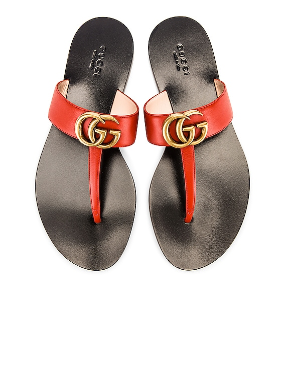 Double G Leather Thong Sandals in Bright Pumpkin