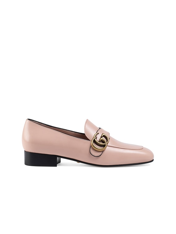 Double G Leather Loafers in Perfect Pink