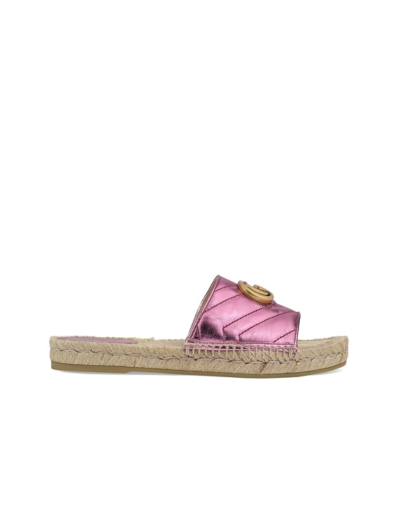 Leather Espadrille Sandals in Rosa