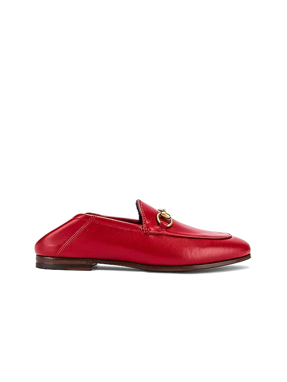 Leather Horsebit Loafers in Hibiscus Red