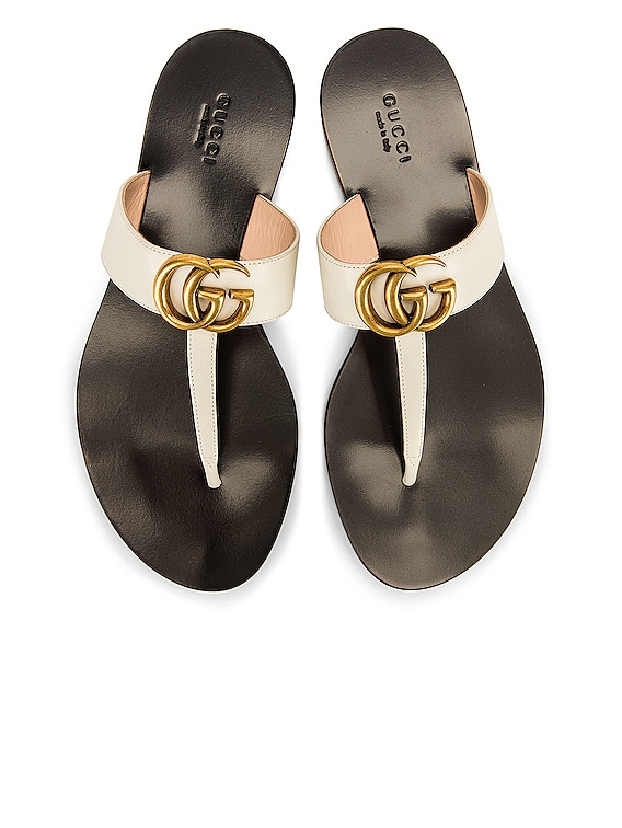 Leather Thong Sandals in Mystic White