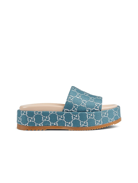Angelina Fabric Sandals in Blue & Silver