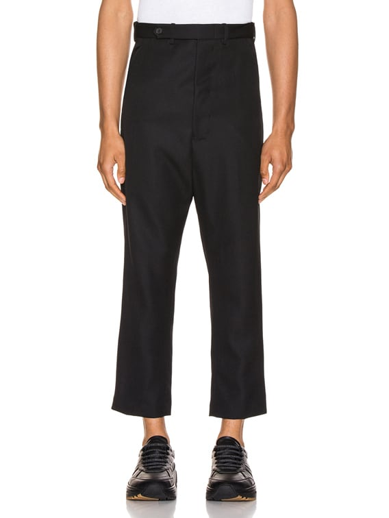 Cropped Low Crotch Trousers in Miles Black