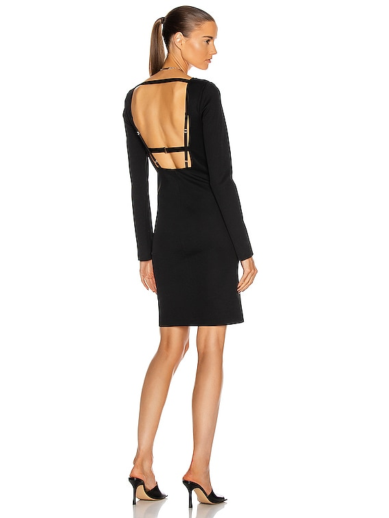 Square Neck Rib Dress in Black