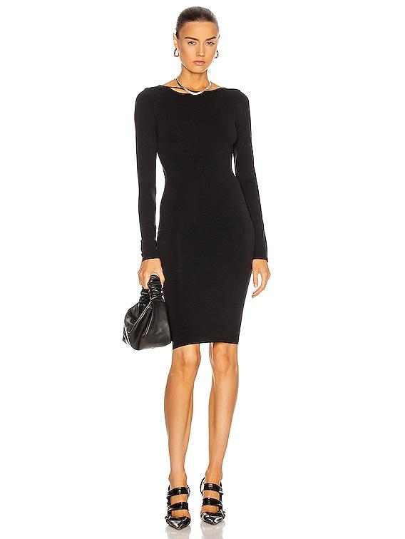 Seamless Open Back V Neck Dress in Black