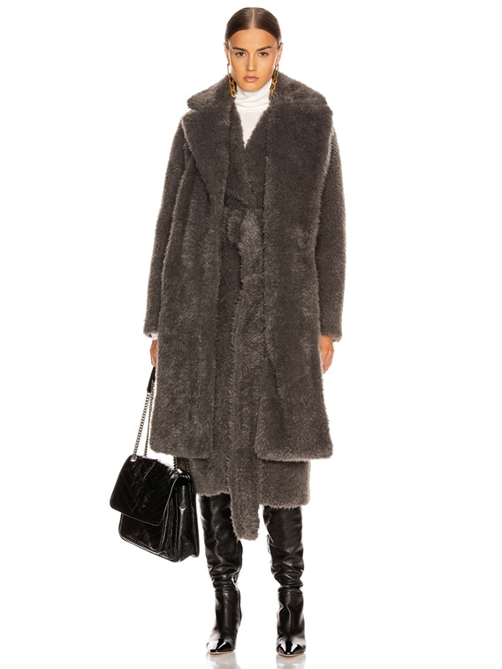 Shaggy Faux Fur Belted Coat in Charcoal Melange