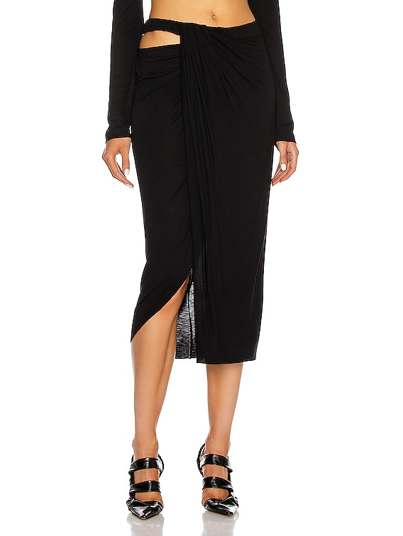 Ruched Jersey Skirt in Black