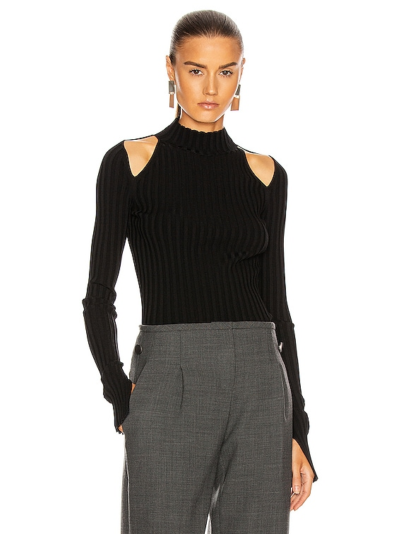 Cutout Pullover Top in Black