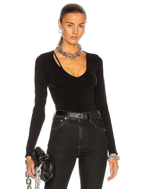 Seamless Slash V Neck Top in Black