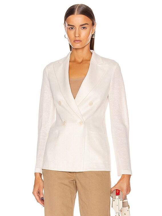 Peal Lapel Blazer Jacket in Off White