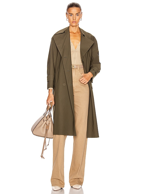 Oversized Trench Coat in Military Green