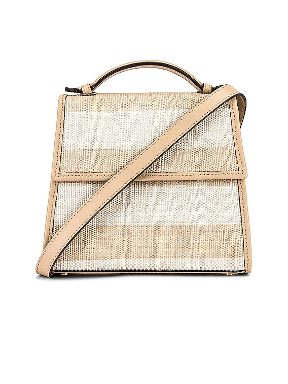 Small Top Handle Bag in Natural & Beige