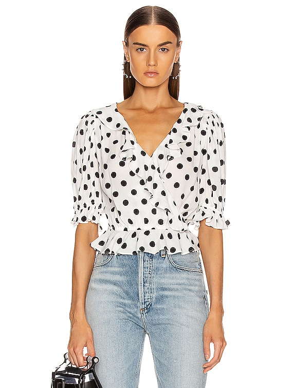 Cha Cha Blouse in White & Black Polka Dot