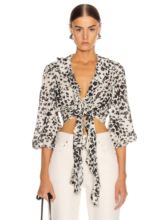 The Doherty Top in Ivory Black Floral