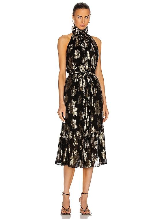 Laza Dress in Black & Gold