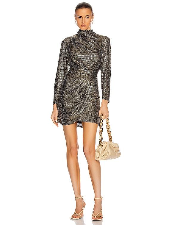 Raslie Dress in Black & Gold
