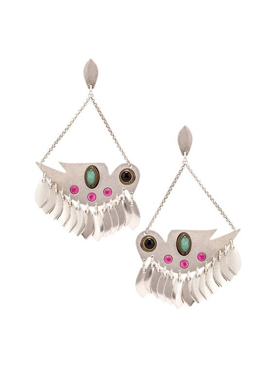 Bird Chandelier Earrings in Fuchsia & Silver