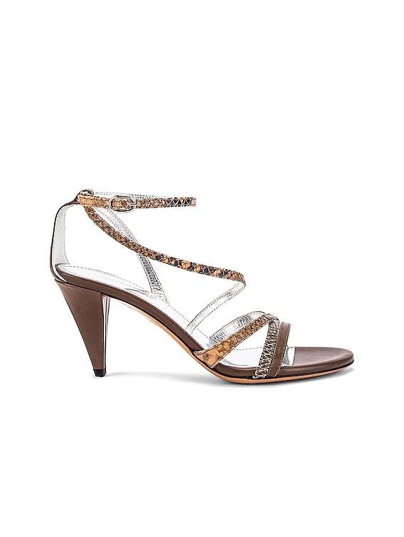 Afka Sandal in Taupe & Camel