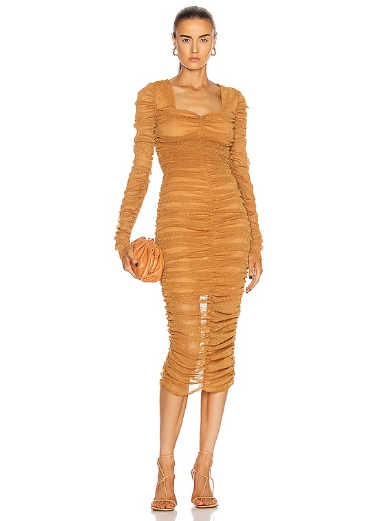 Long Sleeved Ruched Midi Dress in Cinnamon