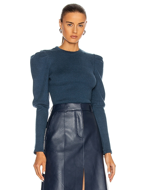Puff Sleeve Top in Prussian Blue