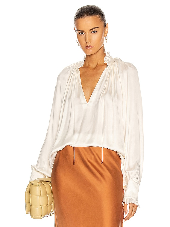 Ruched Front Long Sleeve Top in Ecru