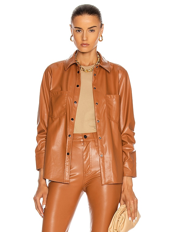 Pleated Sleeve Shirt in Toffee