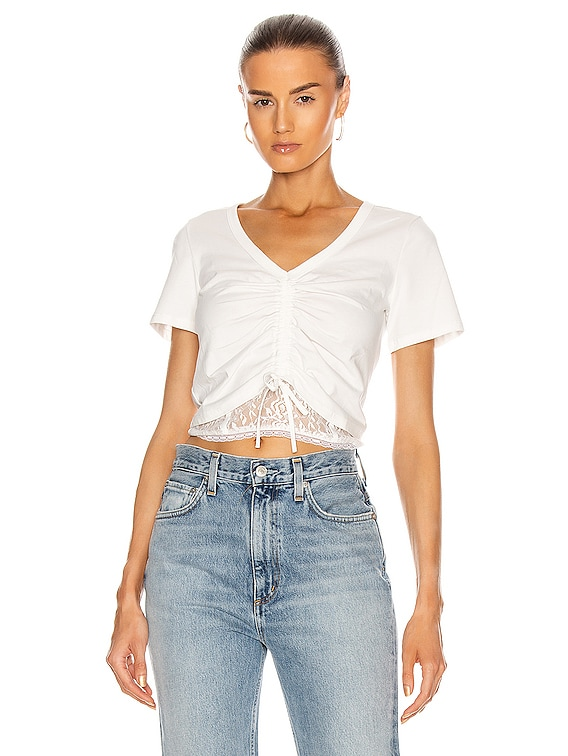 Cropped Ruched Front Top in White