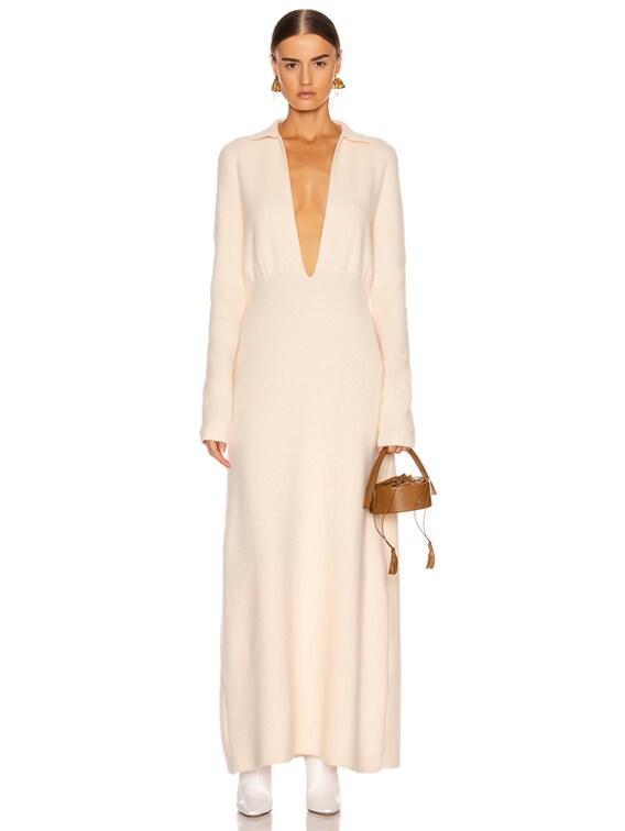 Deep V Long Sleeve Dress in Pearl