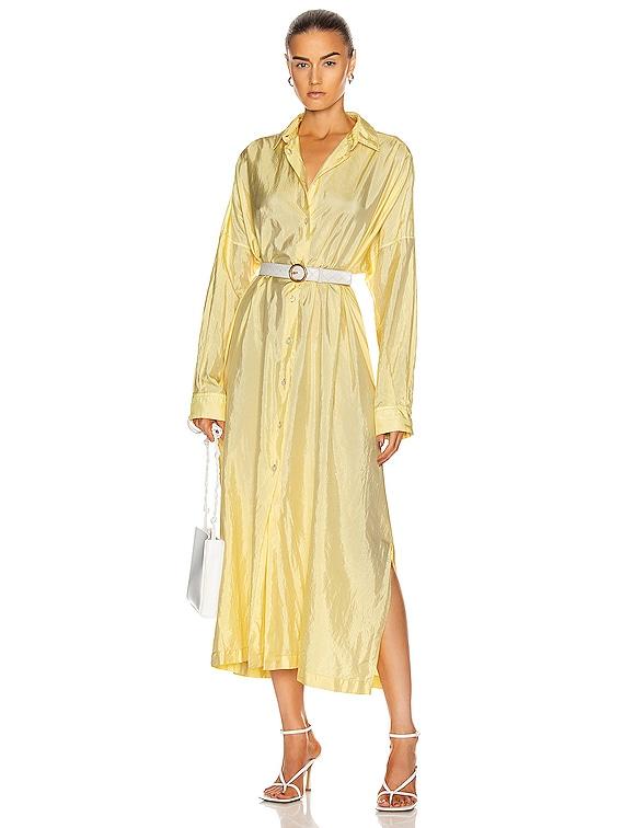 Packaway Shirt Dress in Light Pastel Yellow