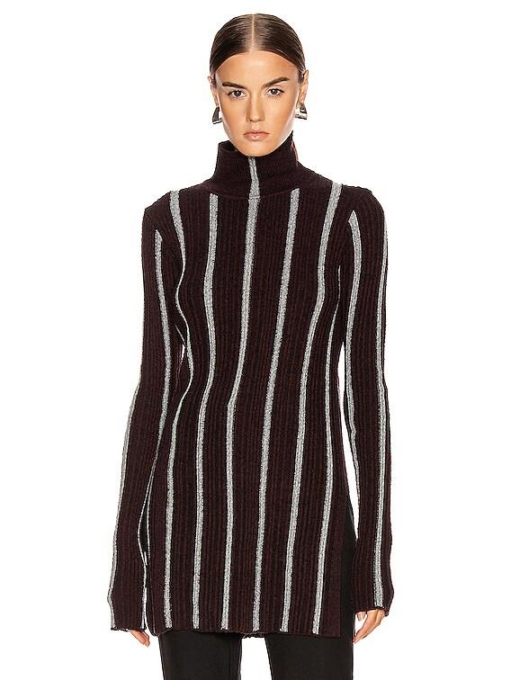 High Neck Long Sleeve Sweater in Stripe