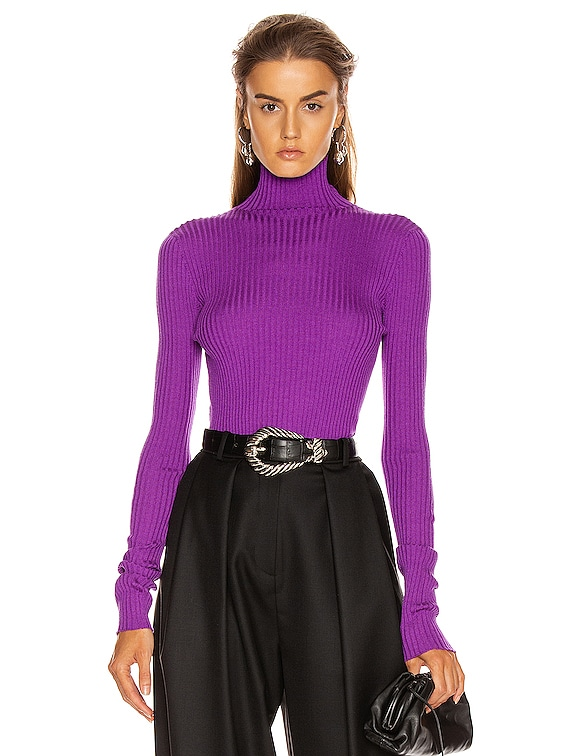 Ribbed Turtleneck Sweater Top in Bright Purple
