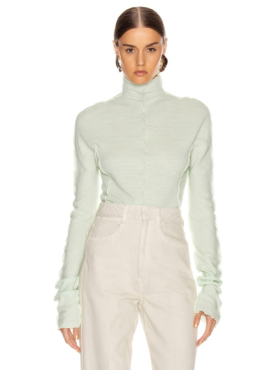 High Neck Long Sleeve Top in Pale Blue