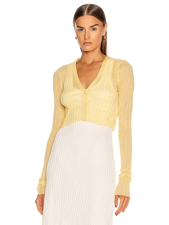 Cardigan Top in Light Pastel Yellow