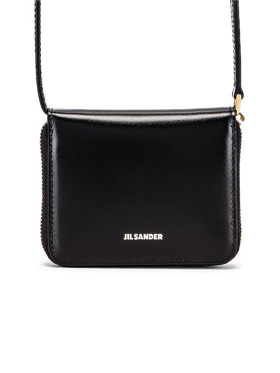 Hook Zip Wallet Crossbody Bag in Black