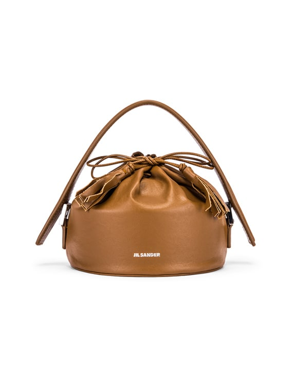 Small Drawstring Drum Bag in Tan