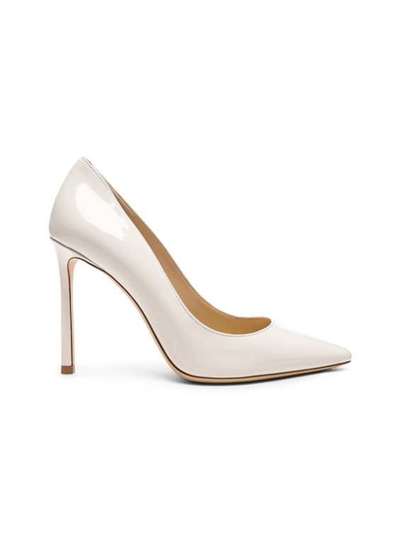 Romy 100 Patent Leather Heels in Chalk