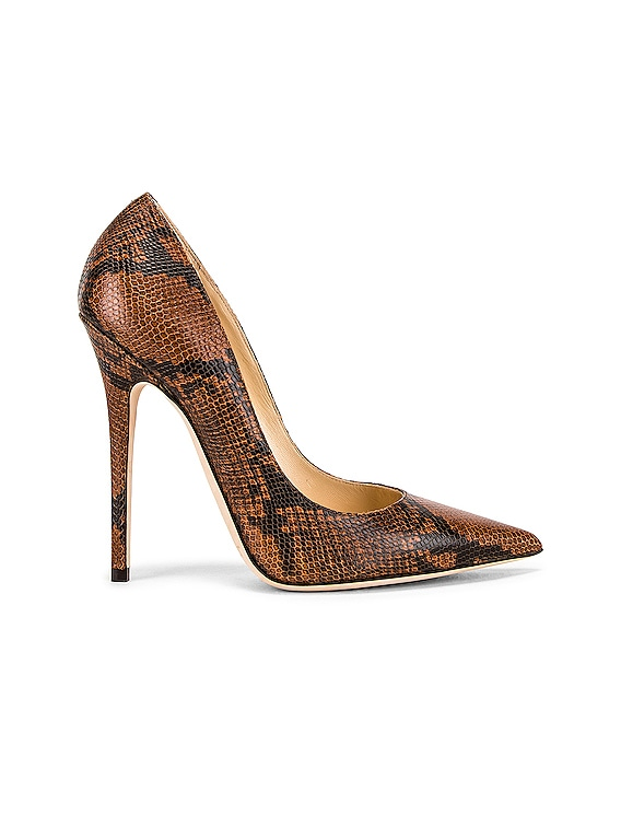 Anouk 120 Snake Print Heel in Cuoio
