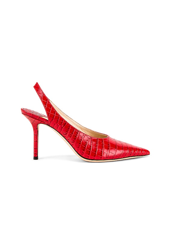Ivy 85 Croc Embossed Leather Slingback in Red