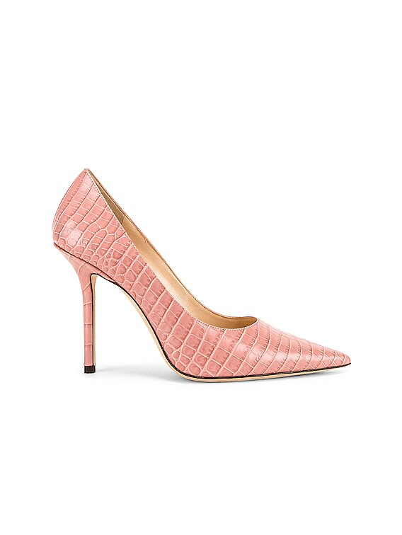 Love 100 Croc Embossed Leather Heel in Blush