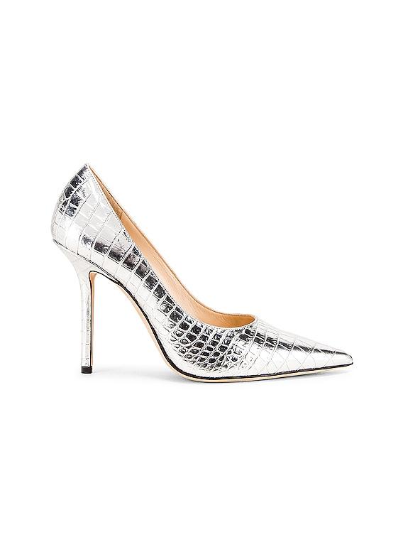 Love 100 Metallic Croc Embossed Leather Heel in Silver