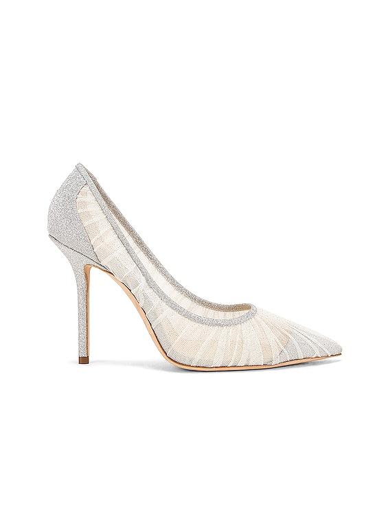 Love 100 Fine Glitter Heel in Ivory & Silver