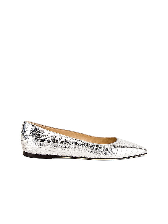 Mirele Metallic Croc Embossed Leather Flat in Silver