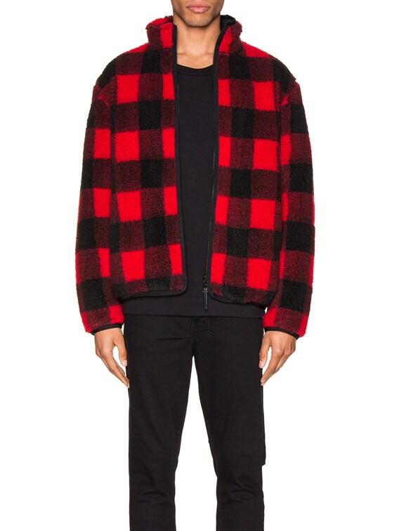 Polar Fleece Zip Up in Red & Black Buffalo